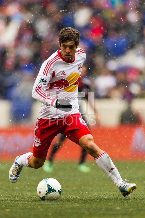 Juninho (8) of the New York Red Bulls. The New York Red Bulls and D. C. United played to a 0-0 tie during a Major League Soccer (MLS) match at Red Bull Arena in Harrison, NJ, on March 16, 2013.