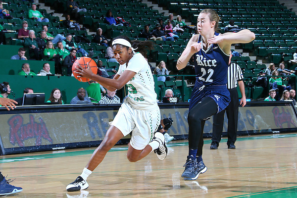 DENTON, TX - JANUARY 14: University of North Texas Mean Green Women's Basketball v Rice Owls at Super Pit - North Texas Coliseum in Denton on January 14, 2017 in Denton, Texas. (Photo by Rick Yeatts)