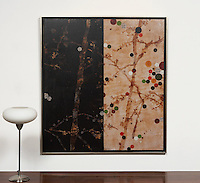 "Hyun: Cherry Blossom 0204, Digital Print, 47.5"" x 43.5"" x 1.5"", Silver Leaf Float Frame"