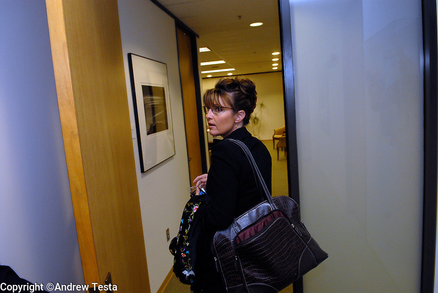 USA. Alaska.  13th September 2007.Governor Sarah Palin leaves her office..©Andrew Testa/Panos