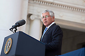 United States Secretary of Defense Chuck Hagel delivers remarks during a Memorial Day event at Arlington National Cemetery, May 26, 2014 in Arlington, Virginia. President Obama returned to Washington Monday morning after a surprise visit to Afghanistan to visit U.S. troops at Bagram Air Field. <br /> Credit: Drew Angerer / Pool via CNP