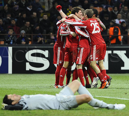 23.02.2011 A small measure of revenge for Bayern Munich as the German side earned a valuable 1-0 Champions League first leg win against Inter Milan. Picture shows Bayern Munich celebrations after Mario Gomez goal.