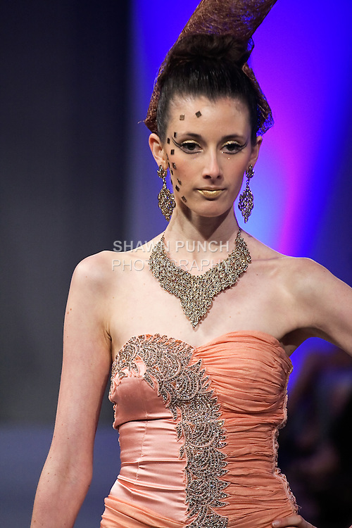 Model walks runway in an outfit by Sushma Patel for the Sushma Patel Spring 2012 fashion show, during Couture Fashion Week Spring 2012.