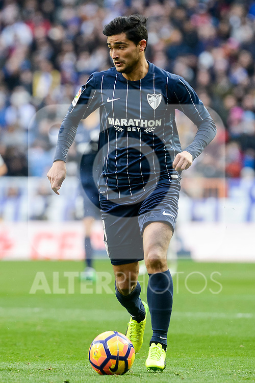 "Malaga CF's Gonzalo ""Chory"" Castro during La Liga match between Real Madrid and Malaga CF at Santiago Bernabeu Stadium in Madrid, Spain. January 21, 2017. (ALTERPHOTOS/BorjaB.Hojas)"