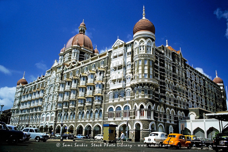 Decorative exterior of the Taj Mahal Palace and Tower, Mumbai, India, 1985.