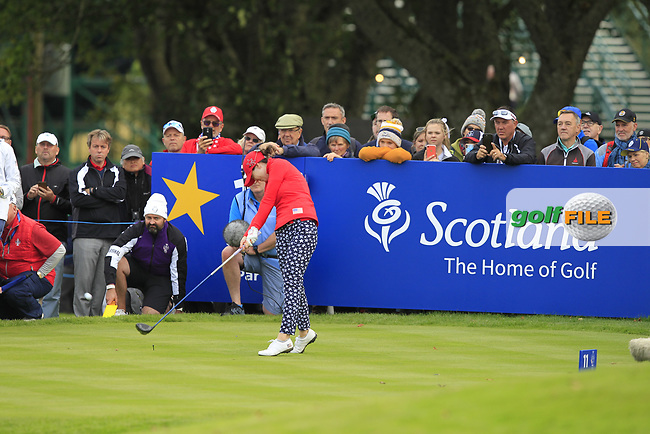 Brittany Altomare of Team USA on the 11th tee during Day 1 Fourball at the Solheim Cup 2019, Gleneagles Golf CLub, Auchterarder, Perthshire, Scotland. 13/09/2019.<br /> Picture Thos Caffrey / Golffile.ie<br /> <br /> All photo usage must carry mandatory copyright credit (© Golffile | Thos Caffrey)