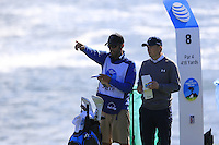 Jordan Spieth (USA) on the 8th tee at Pebble Beach Golf Links during Saturday's Round 3 of the 2017 AT&amp;T Pebble Beach Pro-Am held over 3 courses, Pebble Beach, Spyglass Hill and Monterey Penninsula Country Club, Monterey, California, USA. 11th February 2017.<br /> Picture: Eoin Clarke | Golffile<br /> <br /> <br /> All photos usage must carry mandatory copyright credit (&copy; Golffile | Eoin Clarke)