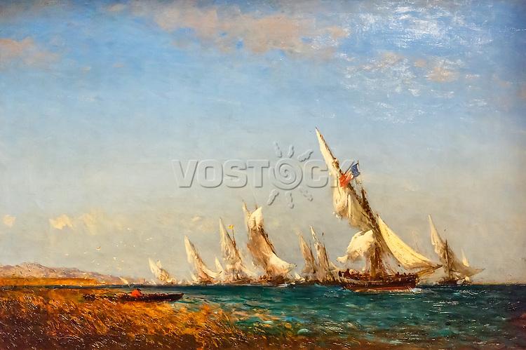 Return of fishermen in Martigues - Felix Ziem (1821-1911)