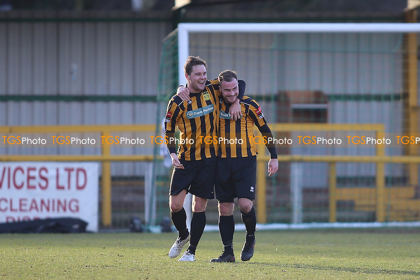 Tom Bruno of Cheshunt opens the scoring and celebrates  during Romford vs Cheshunt, Ryman League Division 1 North Football at Ship Lane on 28th January 2017