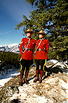 Canada: The Canadian Rockies.  Mounties.  Photo #: cnrock103..Photo copyright Lee Foster, 510/549-2202, lee@fostertravel.com, www.fostertravel.com.