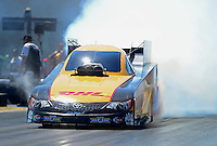 Apr. 13, 2012; Concord, NC, USA: NHRA funny car driver Jeff Arend during qualifying for the Four Wide Nationals at zMax Dragway. Mandatory Credit: Mark J. Rebilas-