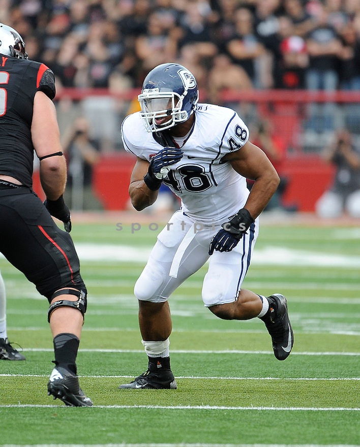 Connecticut Huskies Trevardo Williams (48) in action during a game against Rutgers on October 6, 2012 at High Point Solutions Stadium in New Brunswick, NJ. Rutgers beat UConn 19-3