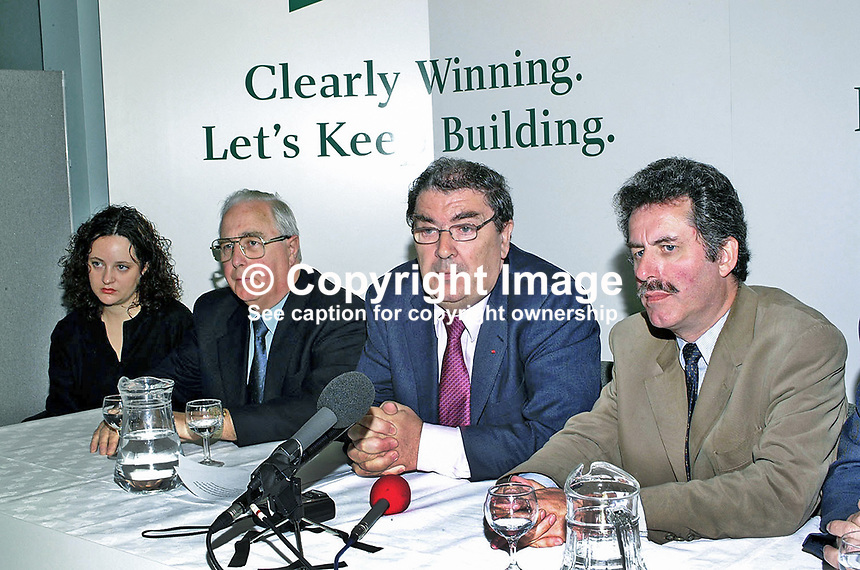 John Hume, SDLP leader, at final Press Conference, before Thursday's General Election in Britain and N Ireland on 7th June 2001. Others from left are: Ciara Farren fighting East Belfast, Eddie McGrady fighting South Down, and Alban Maginnis fighting North Belfast. John Hume is contesting the Foyle constituency where he is the sitting MP...Ref: 2001062213.<br /> <br /> Copyright Image from Victor Patterson,<br /> 54 Dorchester Park, <br /> Belfast, UK, BT9 <br /> <br /> t1: +44 28 9066 1296 (from Rep of Ireland 048 90661296)<br /> t2: +44 28 9002 2446 (from Rep of Ireland 048 9002 2446)<br /> <br /> m: +44 7802 353836<br /> <br /> e: victorpatterson@me.com<br /> www.victorpatterson.com<br /> <br /> Please see my Terms and Conditions of Use at www.victorpatterson.com. It is IMPORTANT that you familiarise yourself with them.<br /> <br /> Images used on the Internet must be visibly watermarked i.e. &copy; Victor Patterson<br /> within the body of the image and copyright metadata must not be deleted. Images <br /> used on the Internet have a size restriction of 4kbs and will be chargeable at current<br />  NUJ rates unless agreed otherwise.<br /> <br /> This image is only available for the use of the download recipient i.e. television station, newspaper, magazine, book publisher, etc, and must not be passed on to any third <br /> party. It is also downloaded on condition that each and every usage is notified within 7 days to victorpatterson@me.com<br /> <br /> The right of Victor Patterson to be identified as the author is asserted in accordance with The Copyright Designs And Patents Act (1988). All moral rights are asserted.