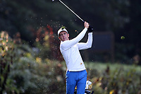 SAPPHIRE, NC - OCTOBER 01: Blake Evans of Morehead State University tees off at The Country Club of Sapphire Valley on October 01, 2019 in Sapphire, North Carolina.