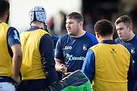 Alex Rae of Bedford Blues speaks to his fellow forwards during the pre-match warm-up. Greene King IPA Championship match, between Rotherham Titans and Bedford Blues on January 17, 2018 at Clifton Lane in Rotherham, England. Photo by: Patrick Khachfe / Onside Images
