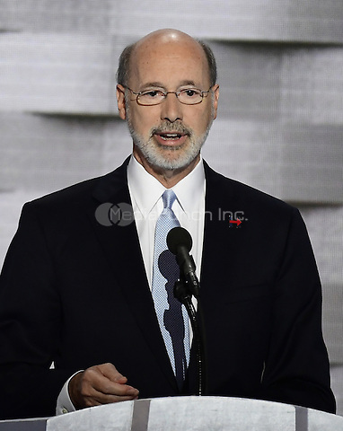 Governor Tom Wolf (Democrat of Pennsylvania) makes remarks during the fourth session of the 2016 Democratic National Convention at the Wells Fargo Center in Philadelphia, Pennsylvania on Thursday, July 28, 2016.<br /> Credit: Ron Sachs / CNP/MediaPunch<br /> (RESTRICTION: NO New York or New Jersey Newspapers or newspapers within a 75 mile radius of New York City)