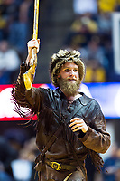 Morgantown, WV - NOV 18, 2017: West Virginia Mountaineers mascot gets the crowd hype during game between West Virginia and Morgan State at WVU Coliseum Morgantown, West Virginia. (Photo by Phil Peters/Media Images International)