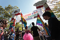 The entrance to the Rainbow Pride Event in Yoyogi Park, Shibuya, Tokyo, Japan. Sunday, April 26th 2015. This is the forth annual celebration of LGBT issues in Tokyo and forms part of a wider Rainbow Week. About 5% of the Japanese population identify as homosexual and this event hopes to foster a society where they can live equally and without prejudice.