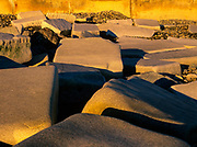 Large granite slabs on New Hampshire 's shoreline which is part of the New England USA seacoast