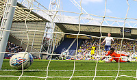 Preston North End's Louis Moult scores the winner past Burton Albion's Stephen Bywater<br /> <br /> Photographer Alex Dodd/CameraSport<br /> <br /> The EFL Sky Bet Championship - Preston North End v Burton Albion - Sunday 6th May 2018 - Deepdale Stadium - Preston<br /> <br /> World Copyright &copy; 2018 CameraSport. All rights reserved. 43 Linden Ave. Countesthorpe. Leicester. England. LE8 5PG - Tel: +44 (0) 116 277 4147 - admin@camerasport.com - www.camerasport.com