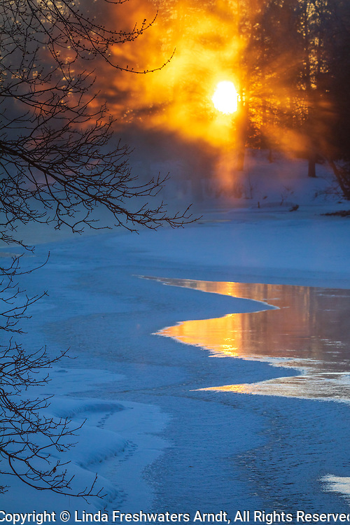 Sunrise on a frigid morning on the east fork of the Chippewa River.