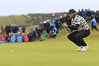 Tommy Fleetwood (ENG) on the 16th green during Sunday's Final Round of the 148th Open Championship, Royal Portrush Golf Club, Portrush, County Antrim, Northern Ireland. 21/07/2019.<br /> Picture Eoin Clarke / Golffile.ie<br /> <br /> All photo usage must carry mandatory copyright credit (© Golffile | Eoin Clarke)