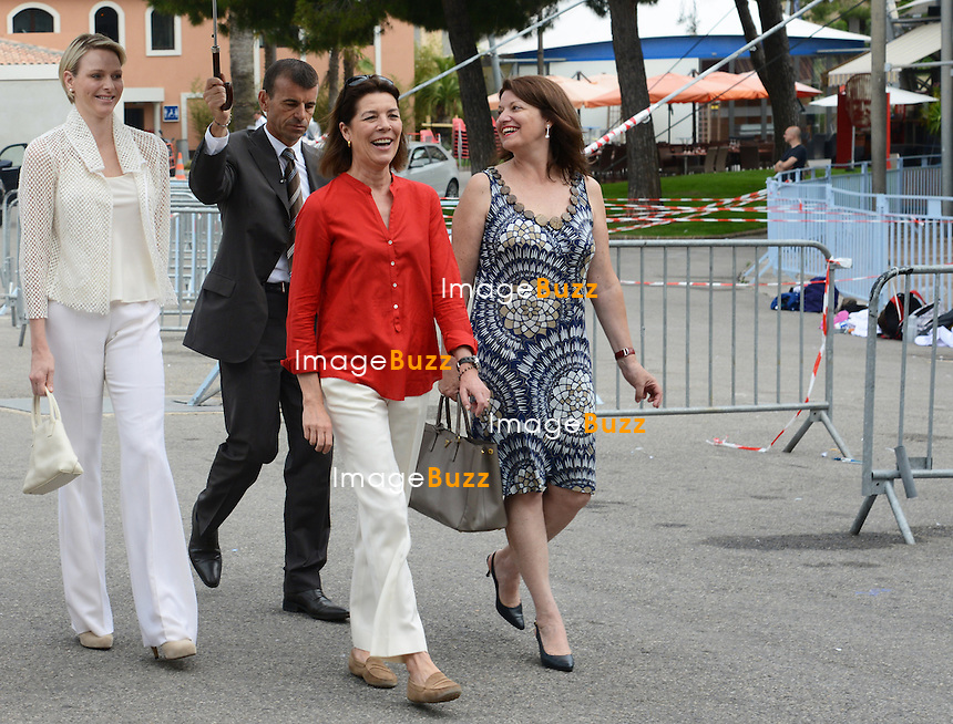 Princess Caroline and Charlène Wittstock presented the awards to young people from the NBFA College, including to Alexandra Of Hanovre, the daughter of Princess Caroline ( the school of the daughter of Princess Caroline ) during an olympic day organized by the National.Education and Monegasque Olympic Committee..Monaco, June 20, 2012. Exclusive photos...