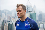 Hong Kong Football Club's Gary Gheczy speaks to the media in front of Hong Kong's urban landscape to celebrate the launch of the HKFC Citi Soccer Sevens on 19 May 2016 in Causeway Bay, Hong Kong, China. Photo by Lucas Schifres / Power Sport Images
