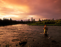 Fly fisherman on Gulkana River at sunset, Alaska