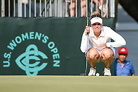 Nanna Koerstz Madsen (DEN) lines up her putt on 18 during round 4 of the 2019 US Women's Open, Charleston Country Club, Charleston, South Carolina,  USA. 6/2/2019.<br /> Picture: Golffile | Ken Murray<br /> <br /> All photo usage must carry mandatory copyright credit (© Golffile | Ken Murray)