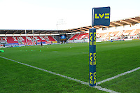 Corporate branding at the LV= Cup first round match between Scarlets and Leicester Tigers at Parc y Scarlets (Photo by Rob Munro, Fotosports International)