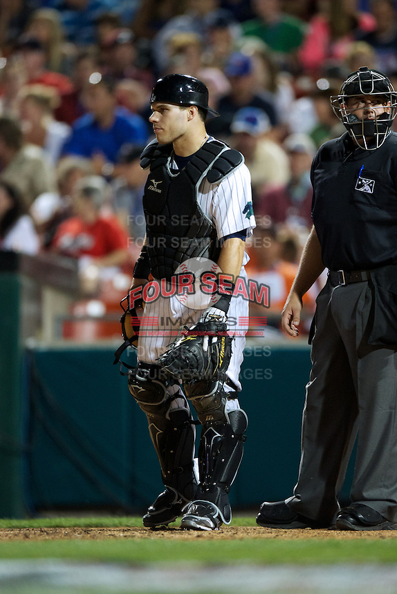 Charlotte Knights catcher Josh Phegley #4 during the Triple-A All-Star game featuring the Pacific Coast League and International League top players at Coca-Cola Field on July 11, 2012 in Buffalo, New York.  PCL defeated the IL 3-0.  (Mike Janes/Four Seam Images)