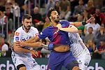 VELUX EHF 2017/18 EHF Men's Champions League Last 16.<br /> FC Barcelona Lassa vs Montpellier HB: 30-28.<br /> Baptiste Bonnefond, Timothey N'Guessan &amp; Valentin Porte.