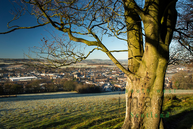 Looking down on Lockerbie on a frost cold winter morning from Mounthoolie hill above the town, Annandale, Scotland, UK
