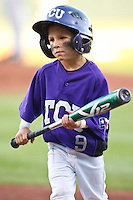 TCU bat boy April 27th, 2010; NCAA Baseball action, Baylor University Bears vs TCU Horned Frogs at Lupton Stadium in Fort Worth, Tx;  TCU won 5-4 in extra innings.