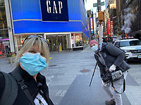 New York, New York City. New Yorkers are told to stay home during the corona virus, (COVID-19) so New York has become eerily empty.  With Ben Lowy.