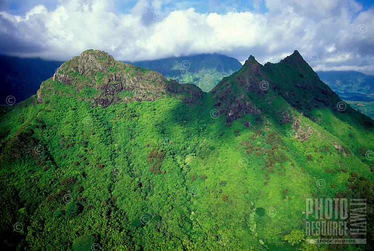 Aerial photo of the peaks of Olomana, landmark on Oahu's windward side near the Koolau mountain range