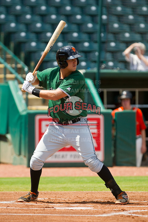 Mitch Delfino (21) of the Augusta GreenJackets at bat against the Greensboro Grasshoppers at NewBridge Bank Park on August 11, 2013 in Greensboro, North Carolina.  The GreenJackets defeated the Grasshoppers 6-5 in game one of a double-header.  (Brian Westerholt/Four Seam Images)