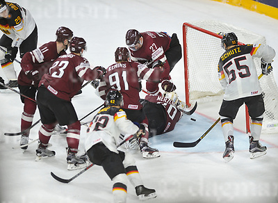 May 16-2017,Lanxess Arena , Cologne/GER<br /> IIHF World Hockey Championship 2017<br /> GER vs LAT<br /> He scores! Germany`s Felix SCHUTZ scores vs Latvia's goaltender  Elvis Merzlikins. Germany's Felix Schutz #55 scores a last minute  goal which leads to overtime and a shootout against Latvia's Elvis Merzlikins .<br /> Germany wins the game by shootout.<br /> May 14-2017,Stadium Alte F&ouml;rsterei,Berlin,Germany<br /> 2.Bundesliga - 33. Spieltag: 1.FC Union Berlin - 1.FC Heidenheim