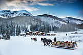 USA, Colorado, Aspen, following a sleigh ride dinner guests are dropped off at the Pine Creek Cookhouse in the Elk Mountains