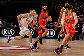 25th March 2018, Madrid, Spain; Endesa Basketball League, Real Madrid versus Valencia; Fabien Causeur (Real Madrid Baloncesto) brings the ball foward against Bojan Dubljevic (Valencia Basket)