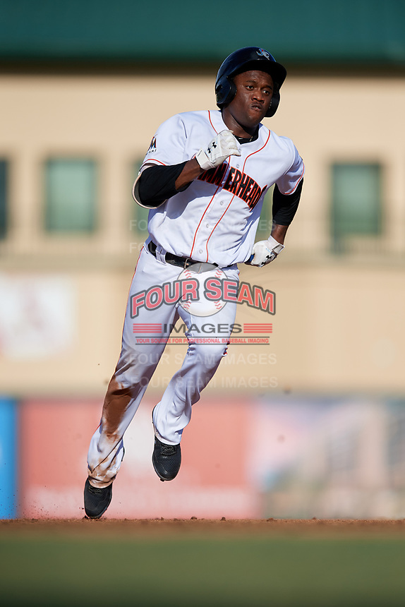 Jupiter Hammerheads designated hitter Anfernee Seymour (26) runs the bases during a game against the Palm Beach Cardinals on August 4, 2018 at Roger Dean Chevrolet Stadium in Jupiter, Florida.  Palm Beach defeated Jupiter 7-6.  (Mike Janes/Four Seam Images)