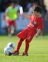 A mascot kicks a ball before the match<br /> <br /> Photographer Kevin Barnes/CameraSport<br /> <br /> UEFA Europa League 2nd Qualifying Round 1st Leg - Connah's Quay Nomads v Partizan Belgrade - Thursday July 25th 2019 - Belle Vue Stadium - Rhyl<br />  <br /> World Copyright © 2019 CameraSport. All rights reserved. 43 Linden Ave. Countesthorpe. Leicester. England. LE8 5PG - Tel: +44 (0) 116 277 4147 - admin@camerasport.com - www.camerasport.com