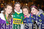 Aobhinn Dobbins, Rachel Carey, Meaghan Brosnan and Christine McAulliffe Gneeveguilla at the Kerry team homecoming to Killarney on Monday night....