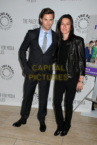 "Andrew Rannells, Ali Adler.PaleyFest Fall TV Preview - ""The New Normal"" held at The Paley Center, Beverly Hills, California, USA..September 5th, 2012.full length black suit blue shirt top jeans denim leather jacket .CAP/ADM/BP.©Byron Purvis/AdMedia/Capital Pictures."