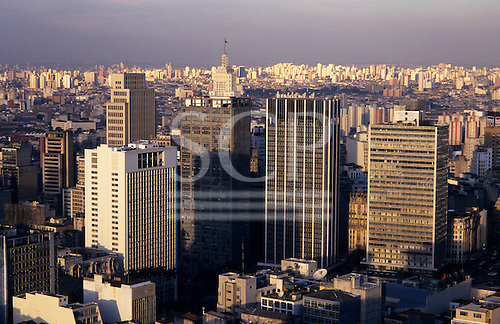 Sao Paulo, Brazil. Overview of high rise office and residential buildings in the city centre.