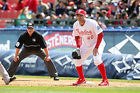 Reading Phillies first baseman Matt Rizzotti #40 in the field during a game against the New Hampshire Fisher Cats at FirstEnergy Stadium on May 5, 2011 in Reading, Pennsylvania.  New Hampshire defeated Reading by the score of 10-5.  Photo By Mike Janes/Four Seam Images