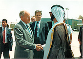 United States Secretary of Defense Dick Cheney bids farewell to His Highness Shaikh Mohammed Bin Rashid Al Maktoum, Minister of Defense, United Arab Emirates (U.A.E.), following a very successful meeting with the leaders of this Presian Gulf nation on August 28, 1990.  Following the meeting, Secretary Cheney was able to announce that the U.A.E. had given permission for United States military aircraft to use air bases facilities in their country as part of Operation DESERT SHIELD -- the deployment of United States military forces to the Persian Gulf region to deter further aggression by Iraq.<br /> Mandatory Credit: Robert D. Ward - DoD via CNP