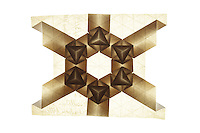 New York, NY, USA - December 14, 2011: Origami tessellation titled Aperture designed and folded by Esmé Cribb.