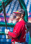 9 March 2014: St. Louis Cardinals infielder Greg Garcia awaits his turn in the batting cage prior to a Spring Training game against the Washington Nationals at Space Coast Stadium in Viera, Florida. The Nationals defeated the Cardinals 11-1 in Grapefruit League play. Mandatory Credit: Ed Wolfstein Photo *** RAW (NEF) Image File Available ***